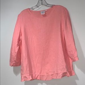 Coral pink 100% linen long sleeve top
